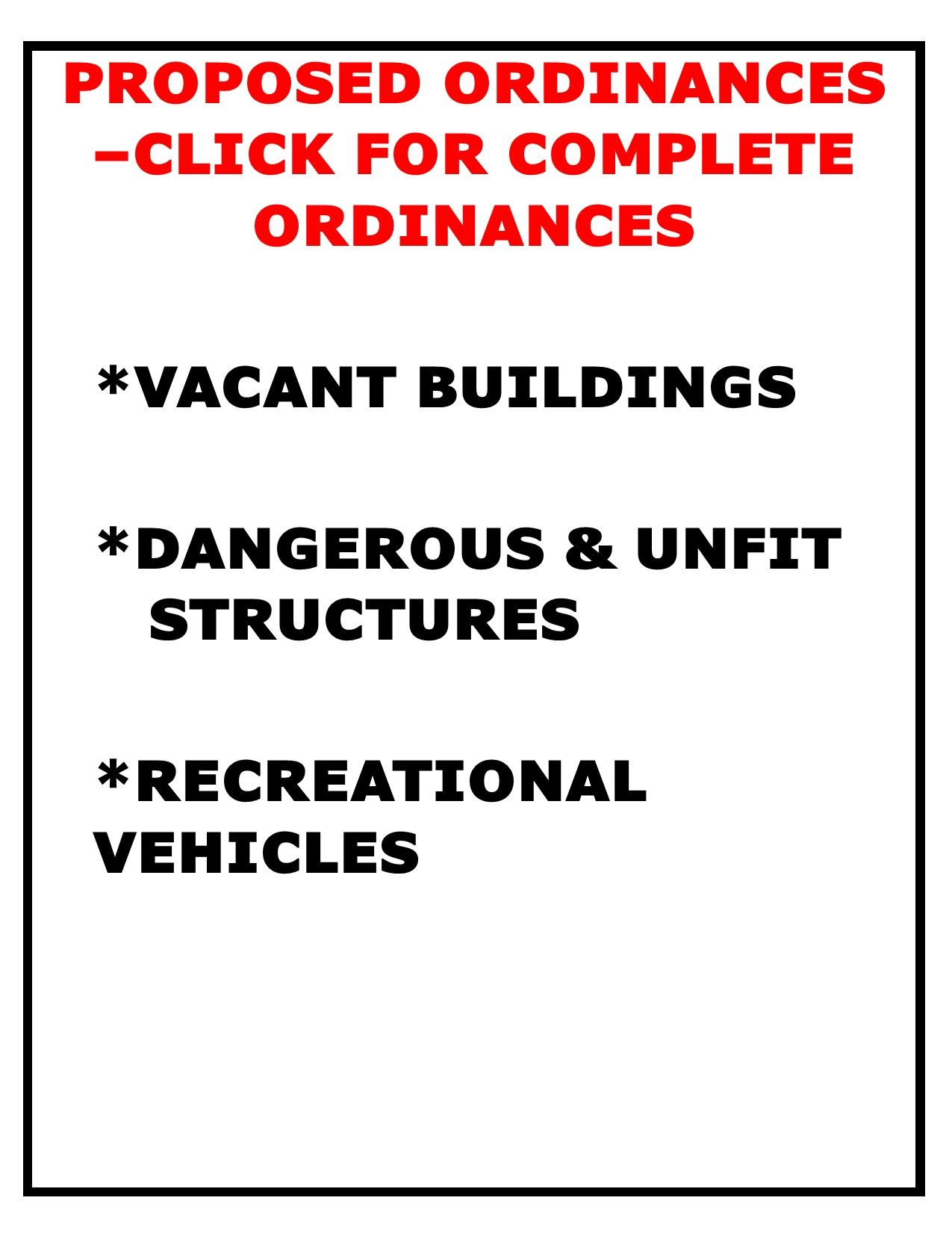 PROPOSED ORDINANCES