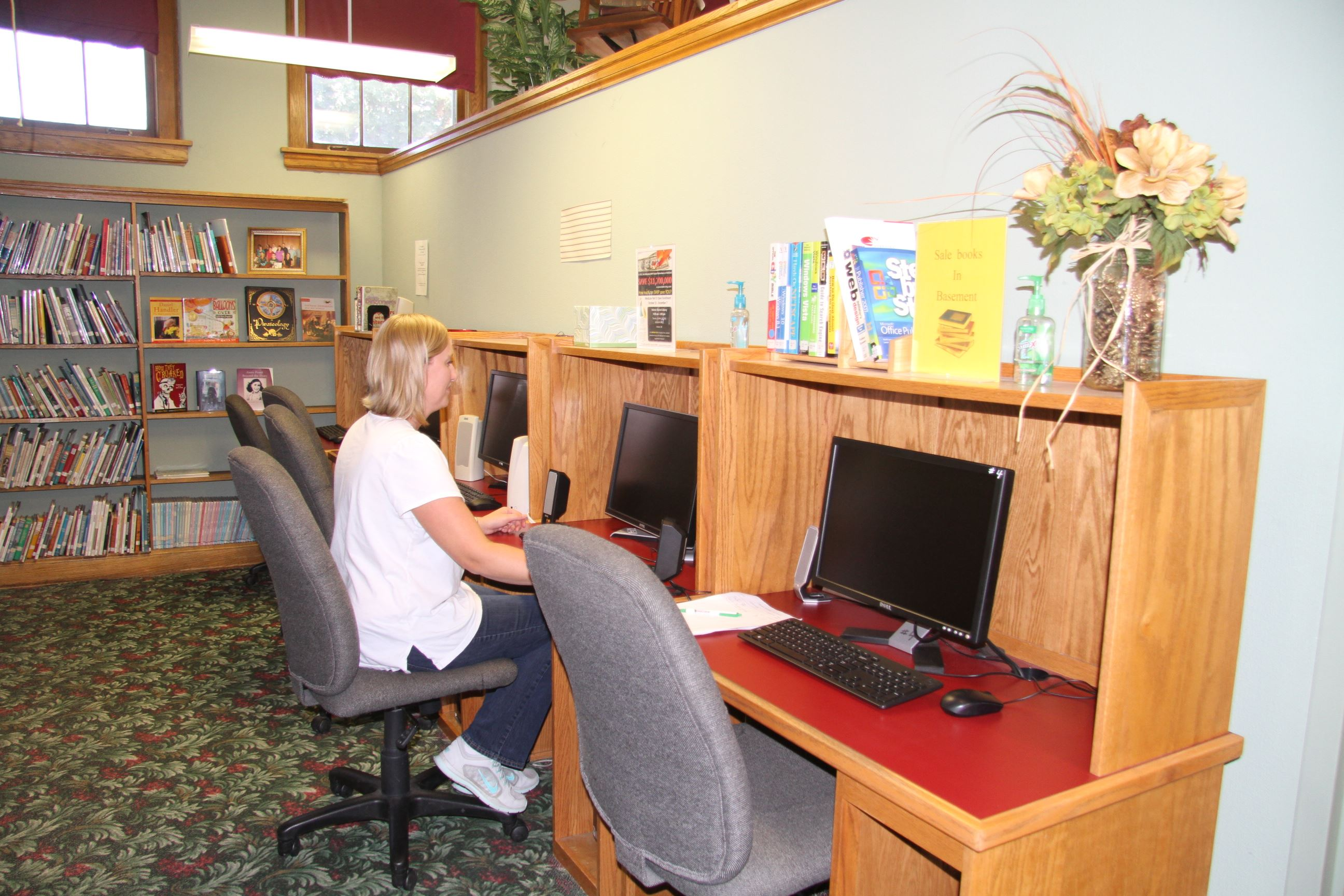 Woman Using a Library Computer