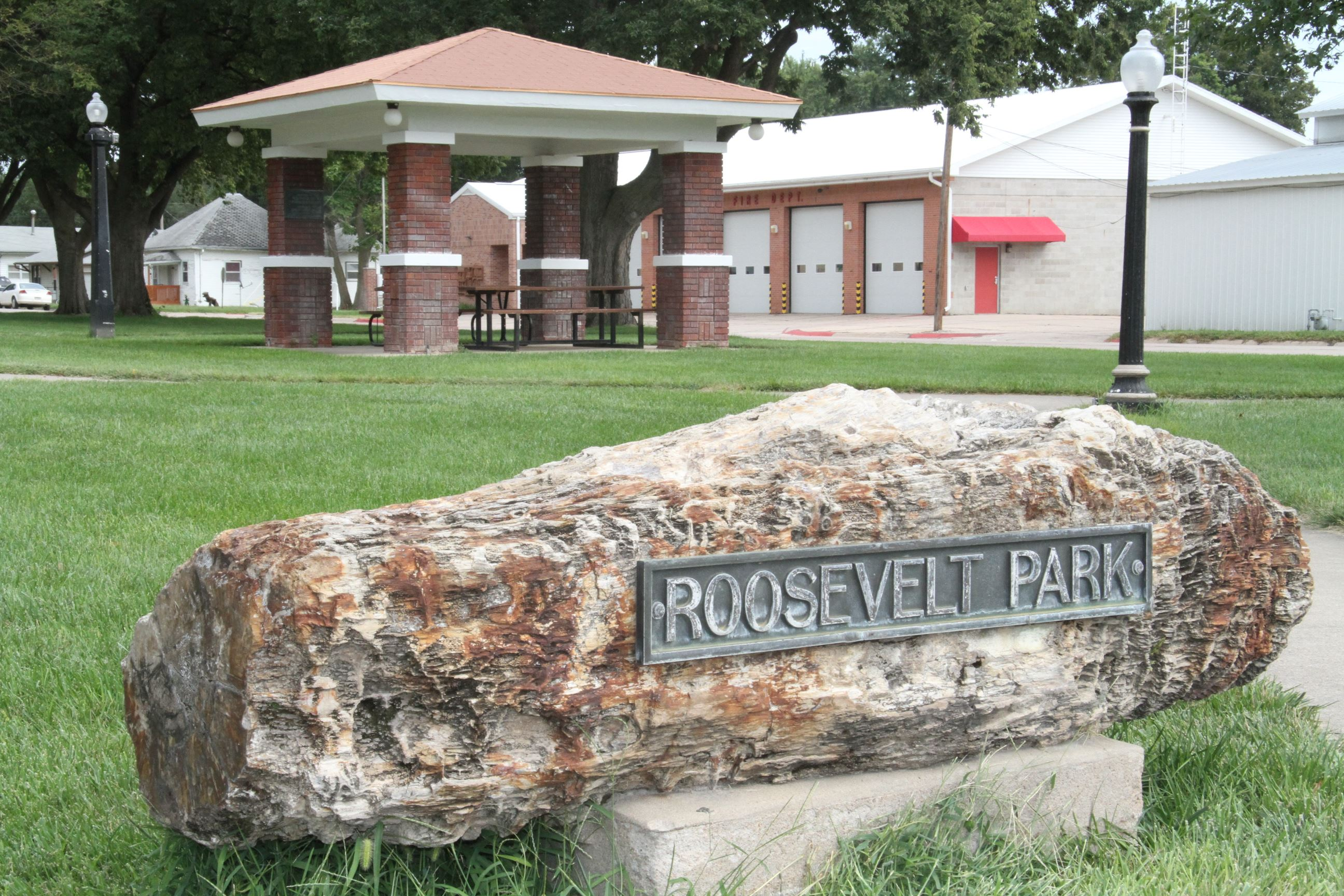 Roosevelt Park Sign on Rock
