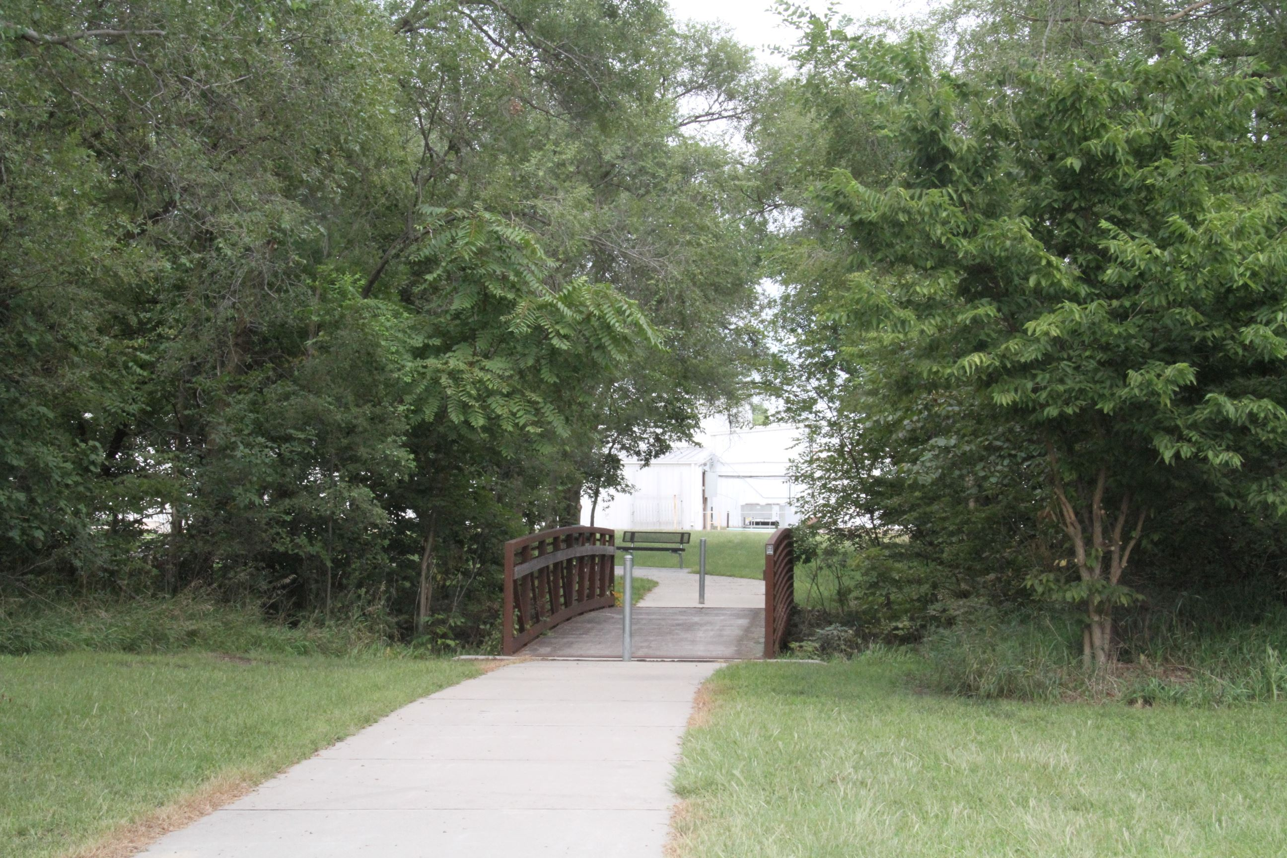 Wide Shot of Walking Trail Bridge