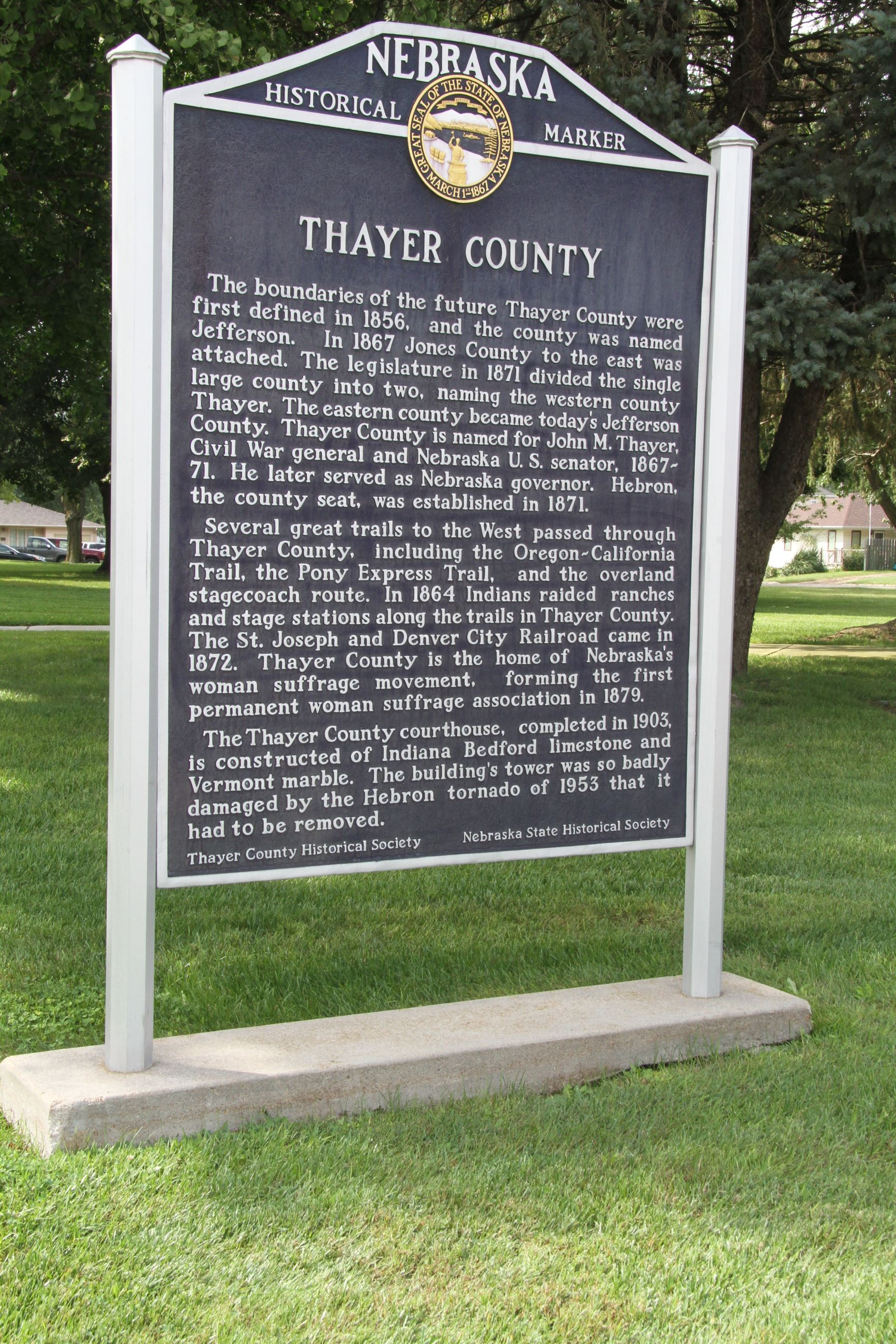 Thayer County History on Sign